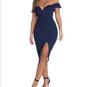 Blue form fitting dress